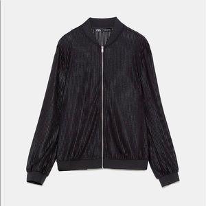 NWOT ZARA Textured Weave Round Neck Bomber Jacket